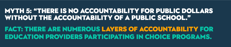 "MYTH 5: ""There is no accountability for public dollars without the accountability of a public school."" FACT: There are numerous layers of accountability for education providers participating in choice programs."