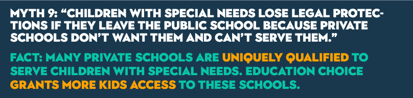 "MYTH 9: ""Children with special needs lose legal protections if they leave the public school because private schools don't want them and can't serve them."" FACT: Many private schools are uniquely qualified to serve children with special needs. Education choice grants more kids access to these schools."