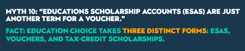 "MYTH 10: ""Educations Scholarship Accounts (ESAs) are just another term for a voucher."" FACT: Education choice takes three distinct forms: ESAs, vouchers, and tax-credit scholarships."